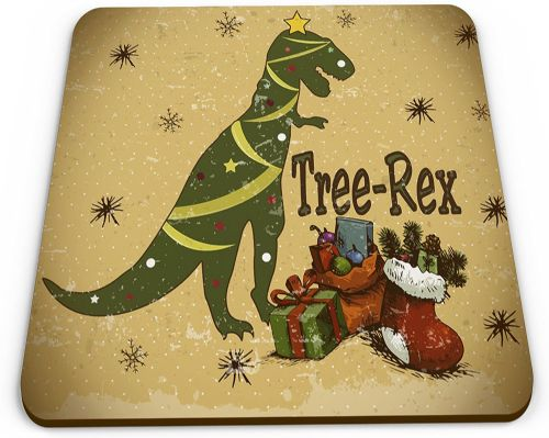 Tree-Rex Christmas Novelty Glossy Mug Coaster